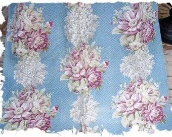 Pair of 1930s 40s Vintage English Cabbage Roses Floral on a Blue Barkcloth Fabric Drapes Curtains