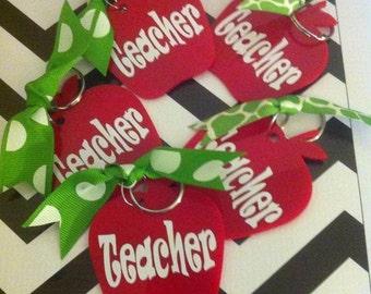 Personalized Apple Acrylic Key Ring-Teacher Gift-Best Teacher Gift-School Staff Gift-Principle Gift