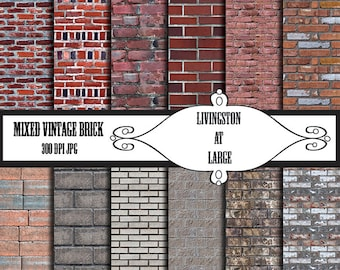 Mixed Vintage Brick INSTANT Digital Download Scrapbook Printable