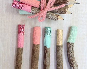 Painted Dipped and Glittered Mini Twig Pencils