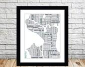 Seattle Typography Map 8x10 Print