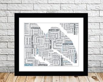 Halifax Typography Map 8x10 Print