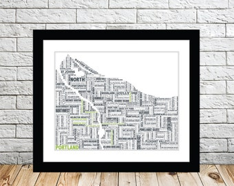 Portland Typography Map Print