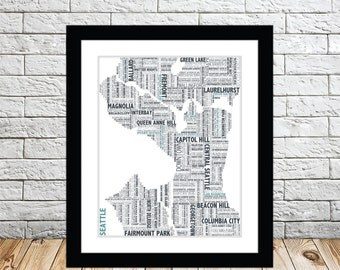 Seattle Typography Map 8x10 Print