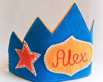Personalized Birthday Felt Crown- Blue, Orange Star Design, Photo Prop