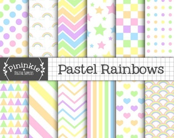 Pastel Rainbow Digital Paper, Pastel Scrapbooking Paper, Digital Scrapbooking Paper, Star, Stripe, Chevron, Instant Download, Commercial Use