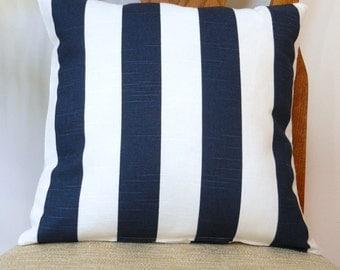 Throw Pillow Cover Navy White Stripe Home Dec Fabric, with zipper closure