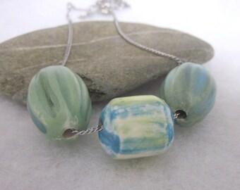 Spring Green Ceramic Triple Bead Necklace