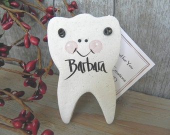 Tooth Ornament Salt Dough Gift Dentist / Hygienist Thank You / Tooth Party