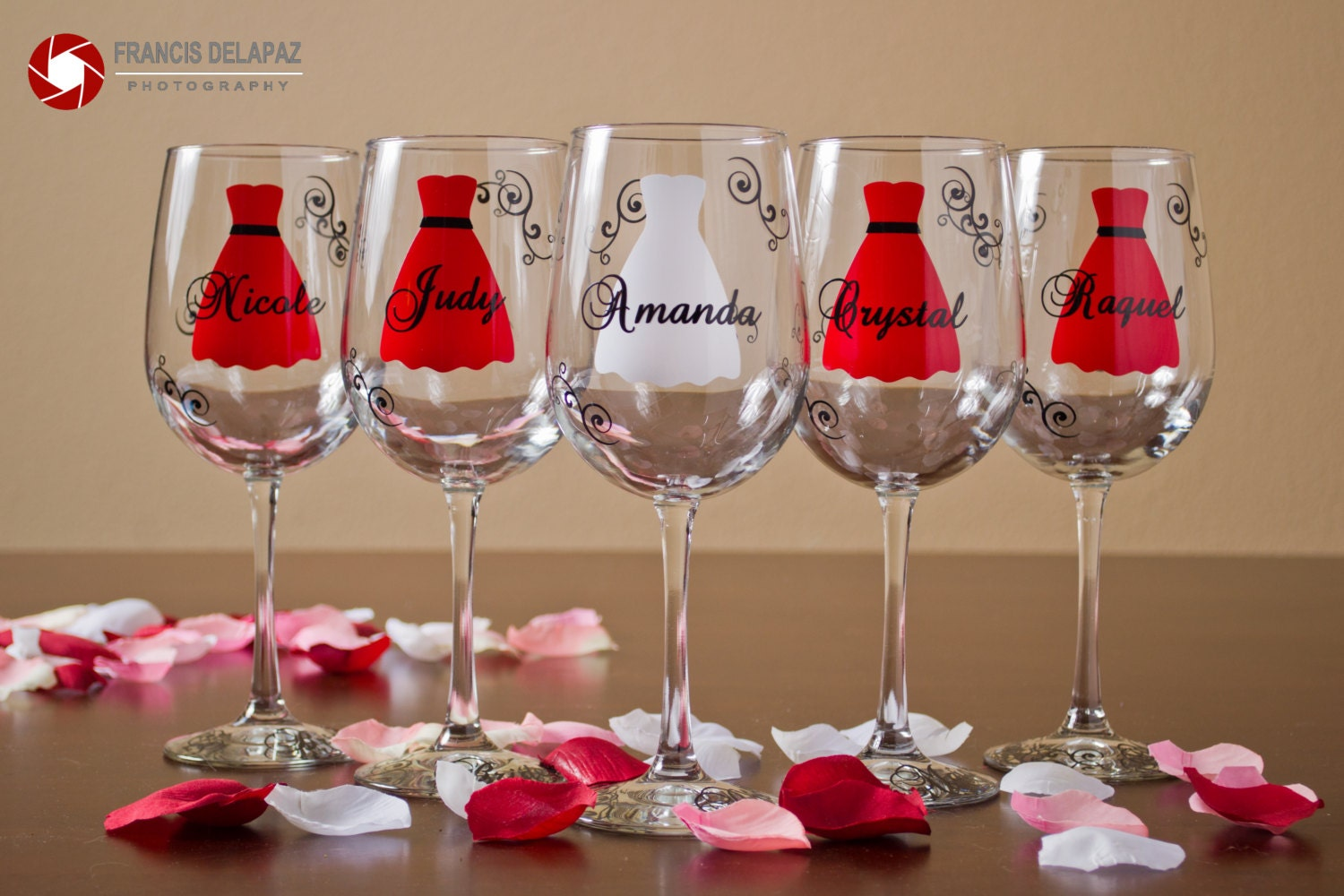 Red Or White Wine For Wedding Gift : Bridesmaids gift wine glasses Red and Black by WaterfallDesigns