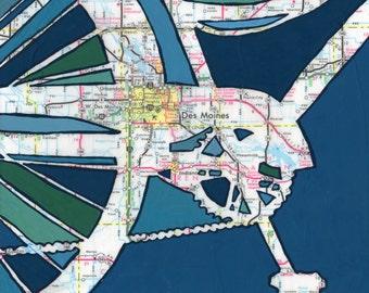 Des Moines - medium print 13x13 & 16x16- featuring Des Moines, Urbandale, Windsor Heights, Iowa bike art bicycle art