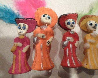 Day of The Dead Katherine Mexican Clay Statues