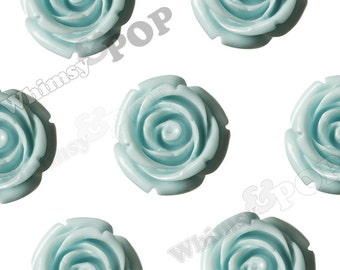 Large Aqua Blue Rose Beads, Flower Beads, 21mm Flower Beads, Drilled Flowers (R7-078)