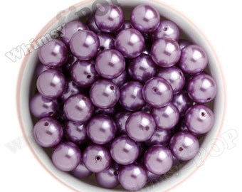 16mm - Pearl Metallic Lilac Purple Gumball Beads, Chunky Pearl Beads, 16mm Pearl Beads, Pearl Gumball Beads, Bubble Gum Beads, 2MM Hole