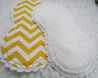 "Baby burp cloths- 2 -10"" x 18""- burp cloths with designer cotton front and white chenille back, hand crochet trim"