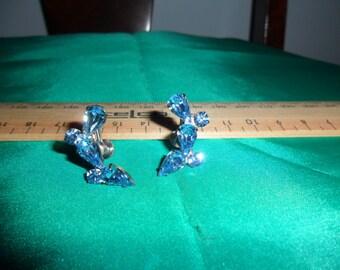 Authentic Vintage Blue Rhinetone Silver Earrings.