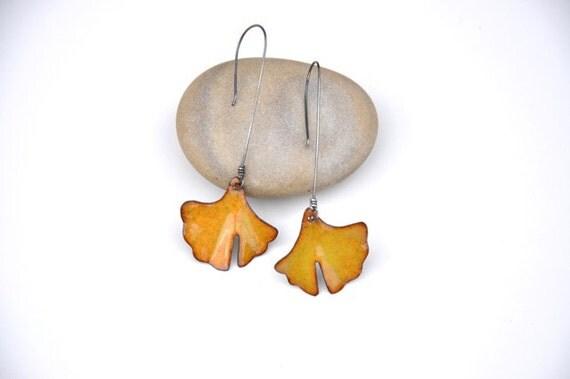 Yellow Ginkgo Earrings
