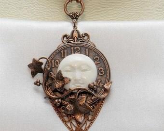 Vintage Victorian Steampunk Filigree Copper Celestial Clock Moon Face Vine Focal Pendant Necklace