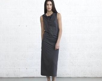 Big Summer Sale Drawstring maxi dress , Knit Maxi Dress , Dark Grey.