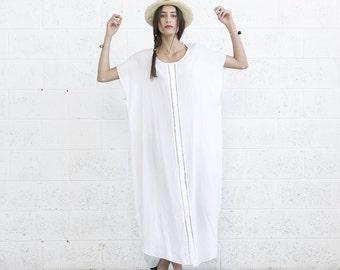 Summer Kaftan Dress, White