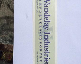 "Vandelay Industries Sticker. Original design digitally printed on premium vinyl. Measures 2.25"" x 8""."
