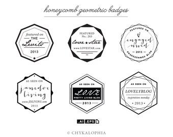 Honeycomb Geometric Badges Vector