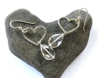 Silver Heart Earrings, Clear Quartz Crystal, Hammered, Gemstone Jewelry, Sweetheart, Love, Valentine's Day Gift Idea for Her, Wedding Bridal