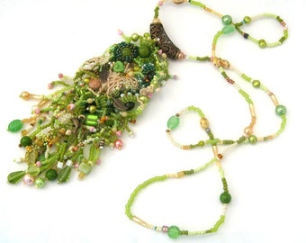 Green necklace Beaded jewelry Long necklace Seed bead jewelry Freeform necklace Christmas gifts for her