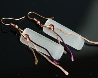Wine Bottle Earrings, DANGLE Earrings, Eco Friendly Recycled Glass Jewelry, Custom, Dessin Creations