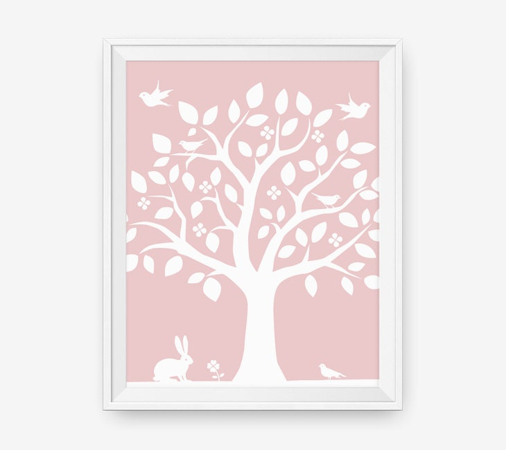 Woodland Nursery Wall Decor : Kids wall art woodland nursery tree decor bunny