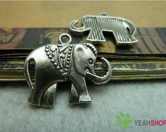 Antique Silver Metal Pendants - Elephant - 21mmx25mm - 10 PCS (JP65)*