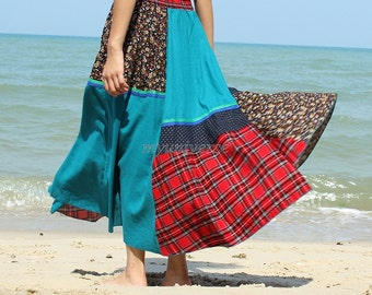 Maxi Skirt Cotton Hippie Women Long Skirt Summer Full Patch Work Costume Skirt Cotton A Line