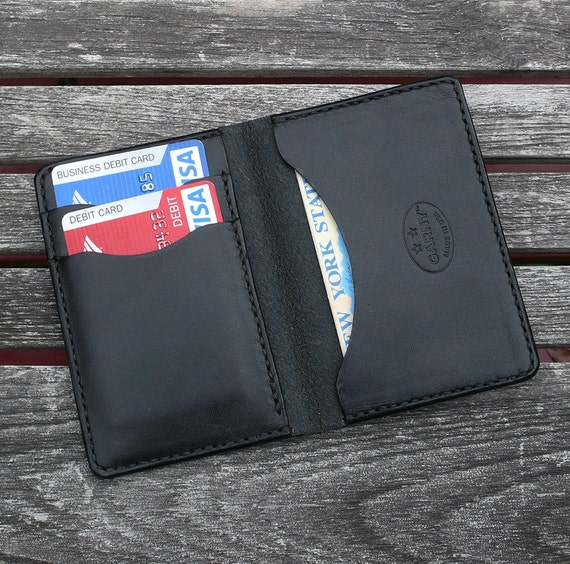 GARNY No.5 - Leather Card Case - Black  - Minimalist Leather Wallet- bl