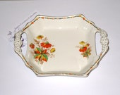 James Kent Ltd. Fenton Autumn Colored Small 2 Handled Nut, Candy Dish / Change Tray / Floral Design