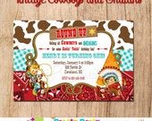 COWBOYS and INDIANS Vintage inspired invitation - You Print