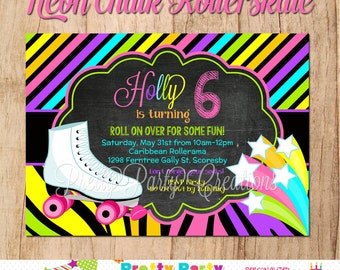 NEON CHALK ROLLERSKATE invitation - You Print