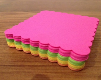 BRIGHTS 2 inch scallop squares or circles for cupcake toppers, tags, and scrapbooking - set of 24