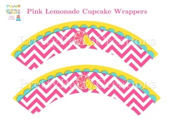 PINK LEMONADE PARTY cupcake wrappers You Print - Instant Download