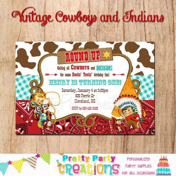 COWBOYS and INDIANS Vintage inspired invitation You Print – Cowboy and Indian Party Invitations