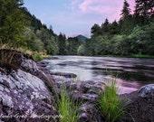 "Landscape Photograph ""McKenzie River Just After Sunset"" -Fine Art Photography Nature photography purple blue pink, unframed print"