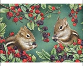 chipmunk wildlife animals berries aceo art print signed numbered limited edition free shipping cute woodland creatures Karen Romine KR