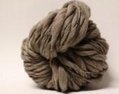Handspun Yarn Thick and Thin Wool Merino Slub tts Super Bulky  Dark Taupe 12 One-pounder
