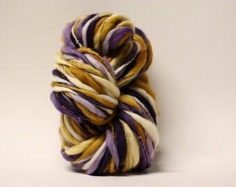 Thick and Thin Yarn Handspun Merino Slub tts Hand dyed Self Striping xxLRH 58c