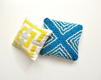 Vintage Blue and White Accent Pillow