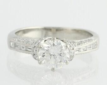 Engagement Ring GIA Diamond 1.19ct - 950 Platinum .54ctw Diamond Accents Unique Engagement Ring x359 R