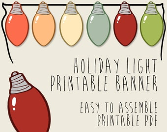 Holiday Lights Christmas Party Banner, Printable PDFs, Instant Download, Thanksgiving