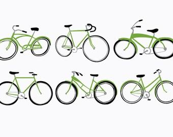 Vintage Bicycle Art Print Green - Retro Pop Art - Hand Printed 12x18