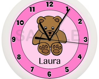 Personalized Teddy Bear Wall Clock White Nursery Decor