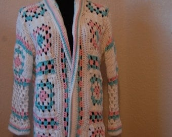 Crochet Coat Granny Square in White, Pink and Robins Egg Blue Medium/Large