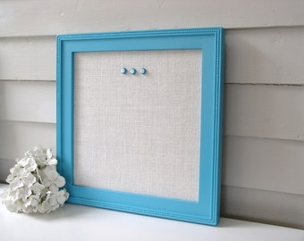 Burlap Magnet Board - Framed Magnetic Bulletin Board Handmade Wood Frame 14.5 x 14.5 Turquoise Aqua Blue Ivory White Burlap Button Magnets